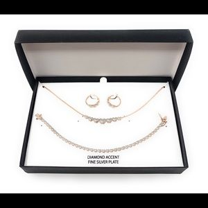 Rose gold plated heart necklace, earring Set NEW